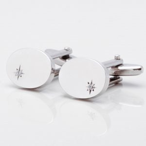 Oval Silver Diamond Cufflinks