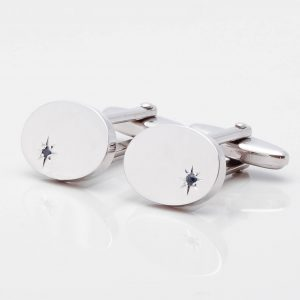 Oval Silver Sapphire Cufflinks