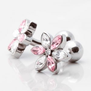 Pink & Clear Crystal Floral Cufflinks
