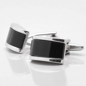RECTANGULAR DOMED ONYX CUFFLINKS