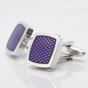 Rhodium Purple Textured Epoxy Cufflinks
