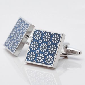 Square Blue Floral Cufflinks
