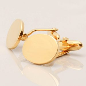 Sterling Silver Gold Plated Oval Cufflinks