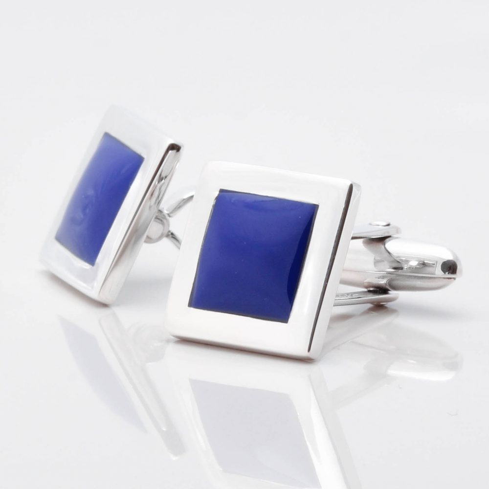 Sterling Silver Lapis Square Cufflinks