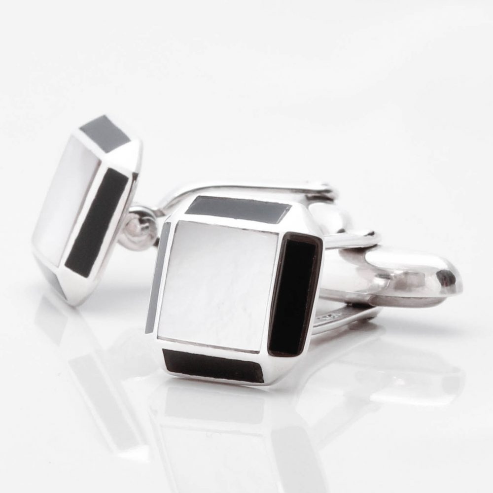 Sterling Silver Mother of Pearl Cufflinks with Onyx Edge