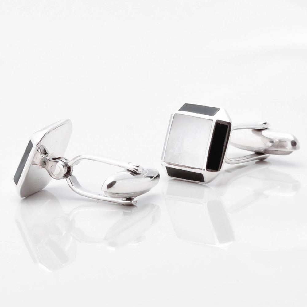 Sterling Silver Mother of Pearl Cufflinks with Onyx Edge Gallery