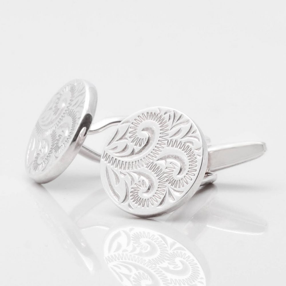Sterling Silver Spiral Engraved Cufflinks