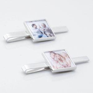 Square Personalised Photo Tie Slide
