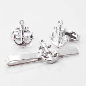 Anchor Cufflinks & Tie Slide Set