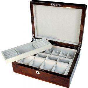 English Burl Walnut Valet Box with Lock