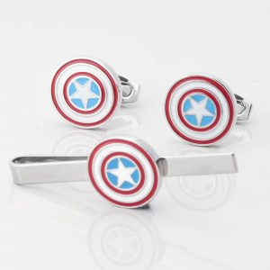 Captain America Cufflinks & Tie Slide Set