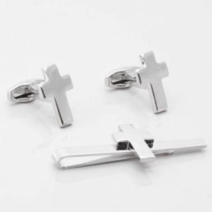 Christian Cross Cufflinks & Tie Slide Set