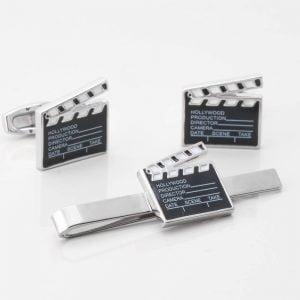 Film Clapper Board Cufflinks & Tie Slide Set