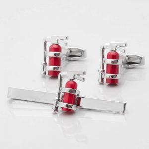 Fire Extinguisher Cufflinks & Tie Slide Set