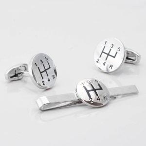 Gear Stick Cufflinks & Tie Slide