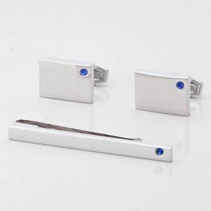 Birthstone Sapphire Cufflinks & Tie Slide Set