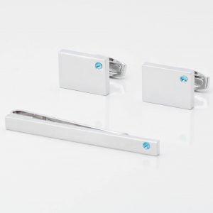Birthstone Aquamarine Cufflinks & Tie Slide Set