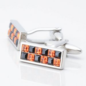 Black & Topaz Crystal Rectangular Cufflinks