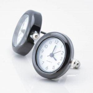 Oval Black Real Working Clock Cufflinks