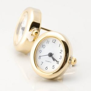 Oval Gold Real Working Clock Cufflinks